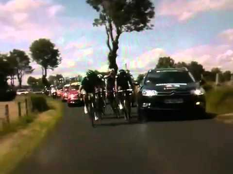 Flecha and Hoogerland Car Accident / Crash - 2011 Tour de France Stage 9 | BahVideo.com