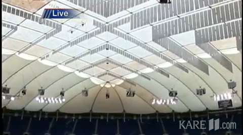 Pumped up New Metrodome roof is inflated | BahVideo.com