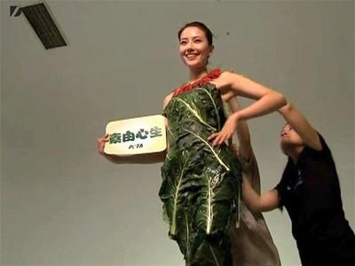 Actress Wears Lettuce Dress | BahVideo.com